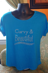 Curvy and Beautiful Rhinestone T-Shirt