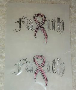 "Mask Faith Breast Cancer Ribbon Rhinestone Transfer Size 5"" x 3.2."" Comes 2 Per Sheet."