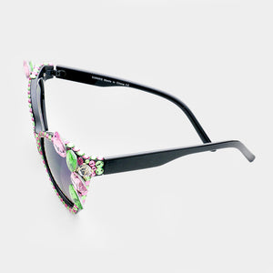 Pink and Green Crystal Teardrop Cat Eyes Sunglasses