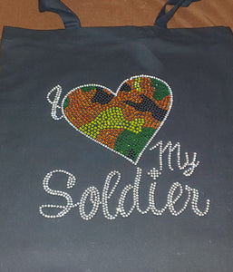I Love My Soldier Small Tote Bag