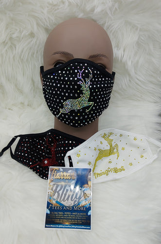Reindeer Rhinestone Face Masks - 3 Options