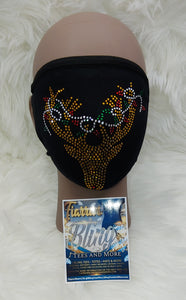 Reindeer with Lights Rhinestone Face Mask