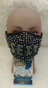 Sexy Rhinestone Adult Face Mask