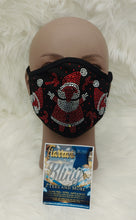 Load image into Gallery viewer, Santa Rhinestone Face Mask