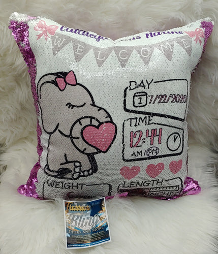 Custom Sequin Baby Announcement Pillow