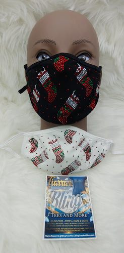 Christmas Stockings Rhinestone Face Masks