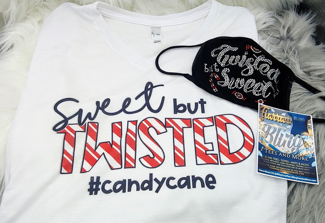 Sweet, But Twisted Candy Cane Shirt/Mask Combo