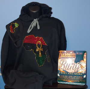 Africa Ankh Rhinestone Hoodie w/Optional Matching Mask