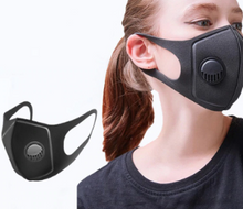 Load image into Gallery viewer, Adult Black Reuseable Face Cover with Respirator