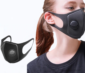 Adult Black Reuseable Face Cover with Respirator
