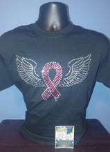 Load image into Gallery viewer, Breast Cancer Ribbon with Wings T-Shirt