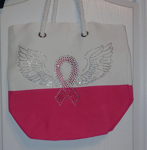 Breast Cancer Ribbon with Wings Beach-Style Tote