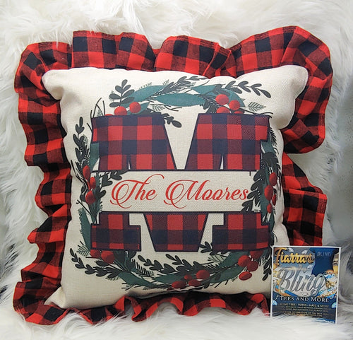 Buffalo Plaid Monogram Pillow