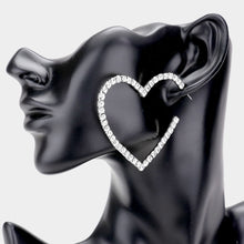 Load image into Gallery viewer, Rhinestone Open Heart Earrings - Two Colors Available