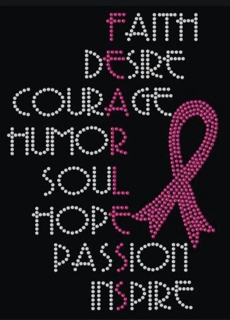 Fearless Faith Desire Courage Fearless Breast Cancer Ribbon Awareness Rhinestone Transfer
