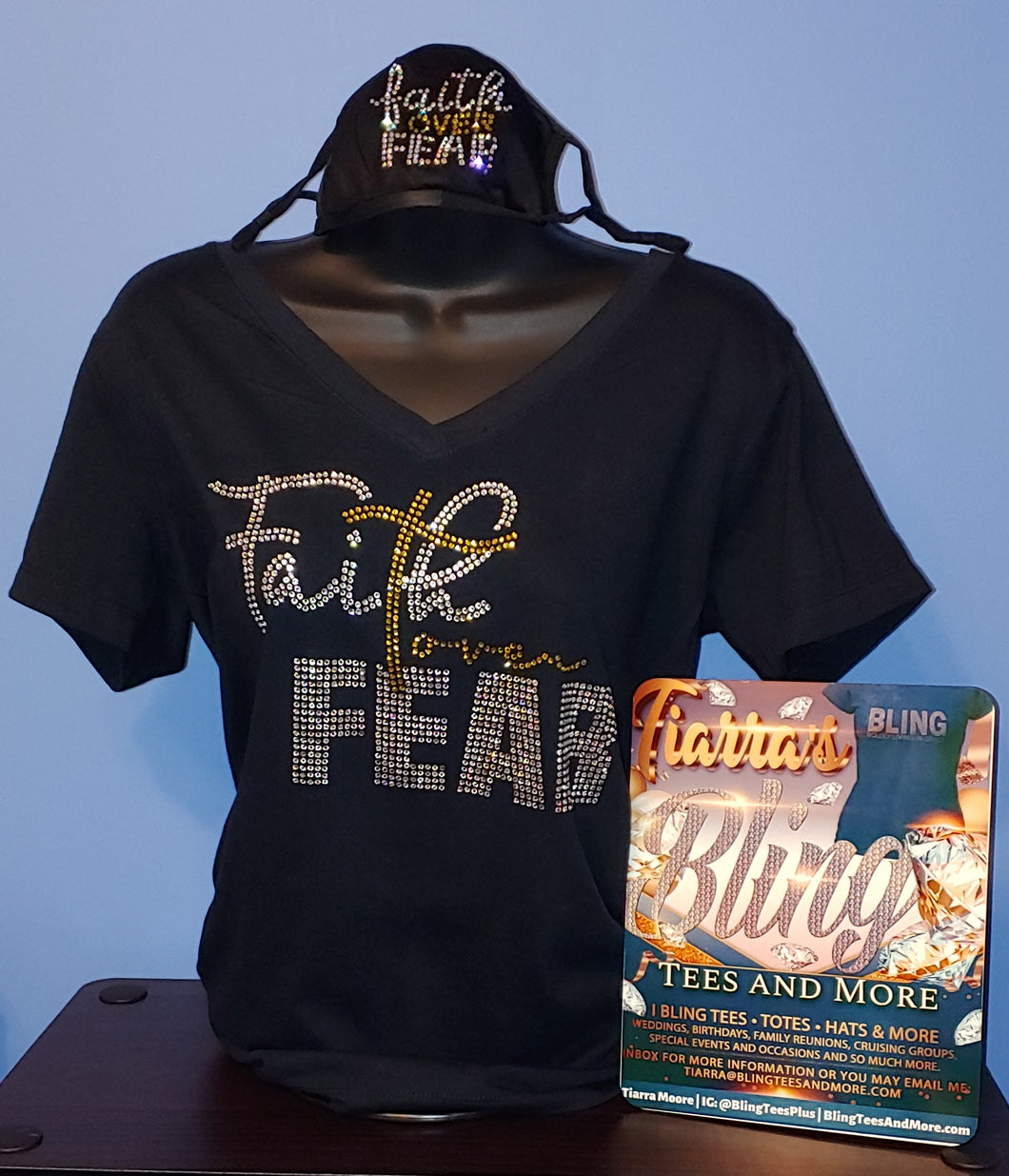 Faith Over Fear Rhinestone Shirt w/ Optional Mask