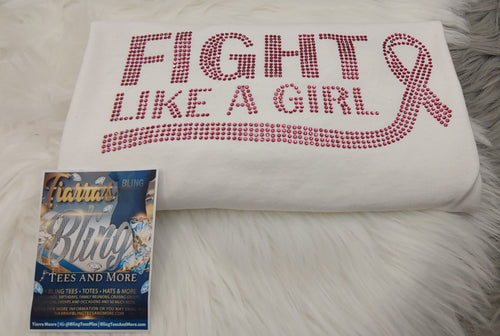 Fight Like a Girl Breast Cancer Awareness Rhinestone T-Shirt