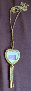 "Custom Heart-Shaped Key Style Necklace with Rhinestone Trim and 22"" Chain"