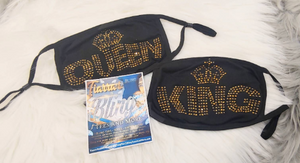 King/Queen Rhinestone Face Mask