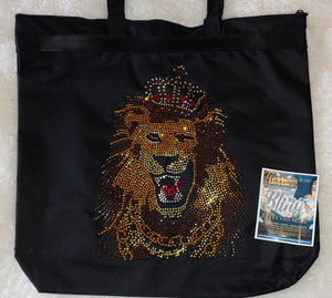Rhinestone Lion Tote Bag