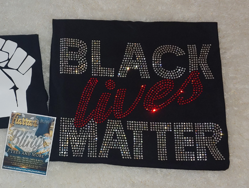 Rhinestone Black Lives Matter Shirt with Script