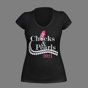 Chucks and Pearls Vinyl Shirt - Choose Your Shoe Color