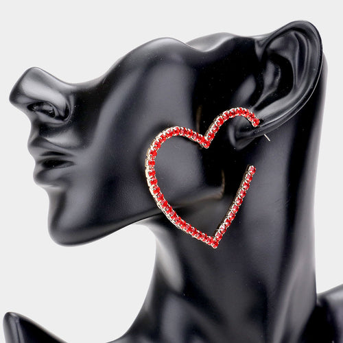 Rhinestone Open Heart Earrings - Two Colors Available