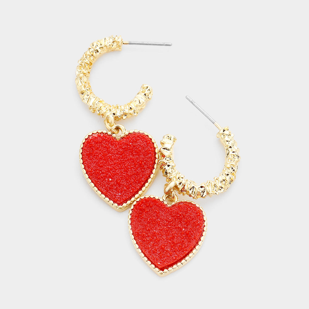 Red Textured Metal Half Hoop Heart Dangle Earrings
