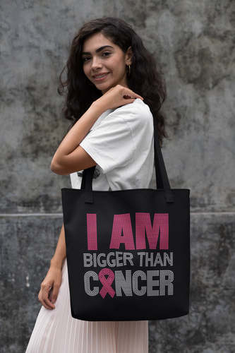 I Am Bigger Than Cancer Rhinestone Tote
