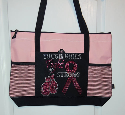 Tough Girls Fight Strong Rhinestone Tote Bag