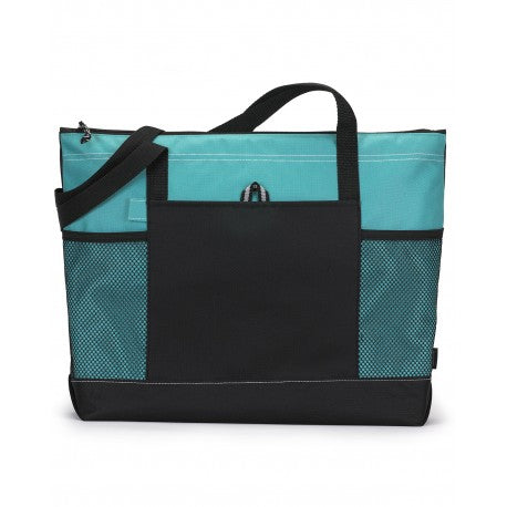Zippered Tote with Pockets - Multiple Colors