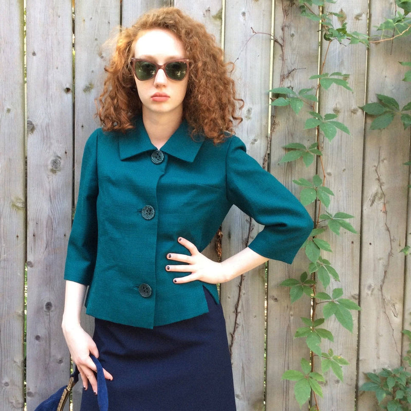 1960s | 3/4 Sleeve Teal Wool Blazer