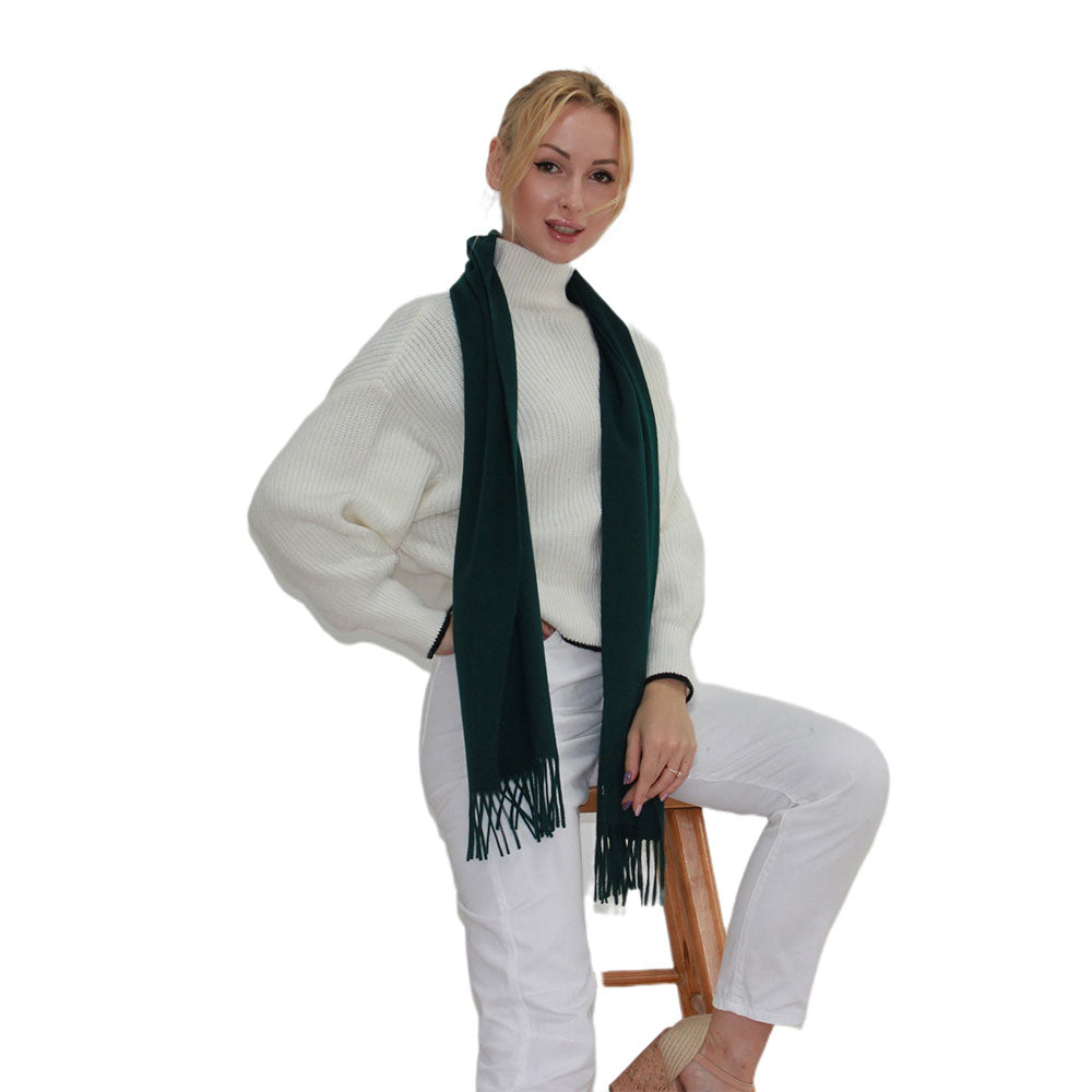 green cashmere scarf women