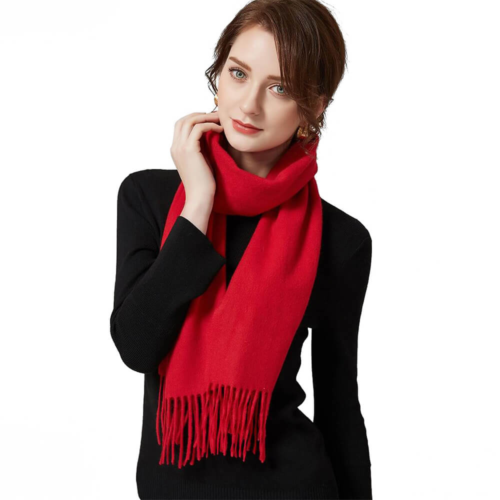 red cashmere scarf women