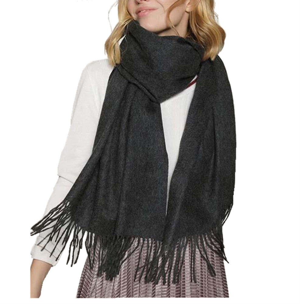 black and gray women scarf