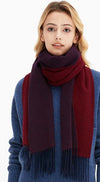 a women in wine red scarf and blue sweater