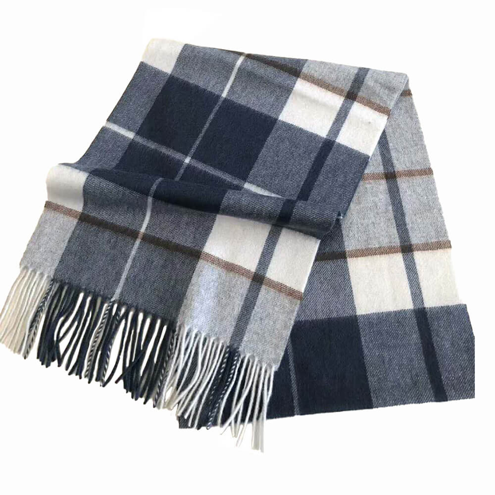 cashmere scarf blue white men
