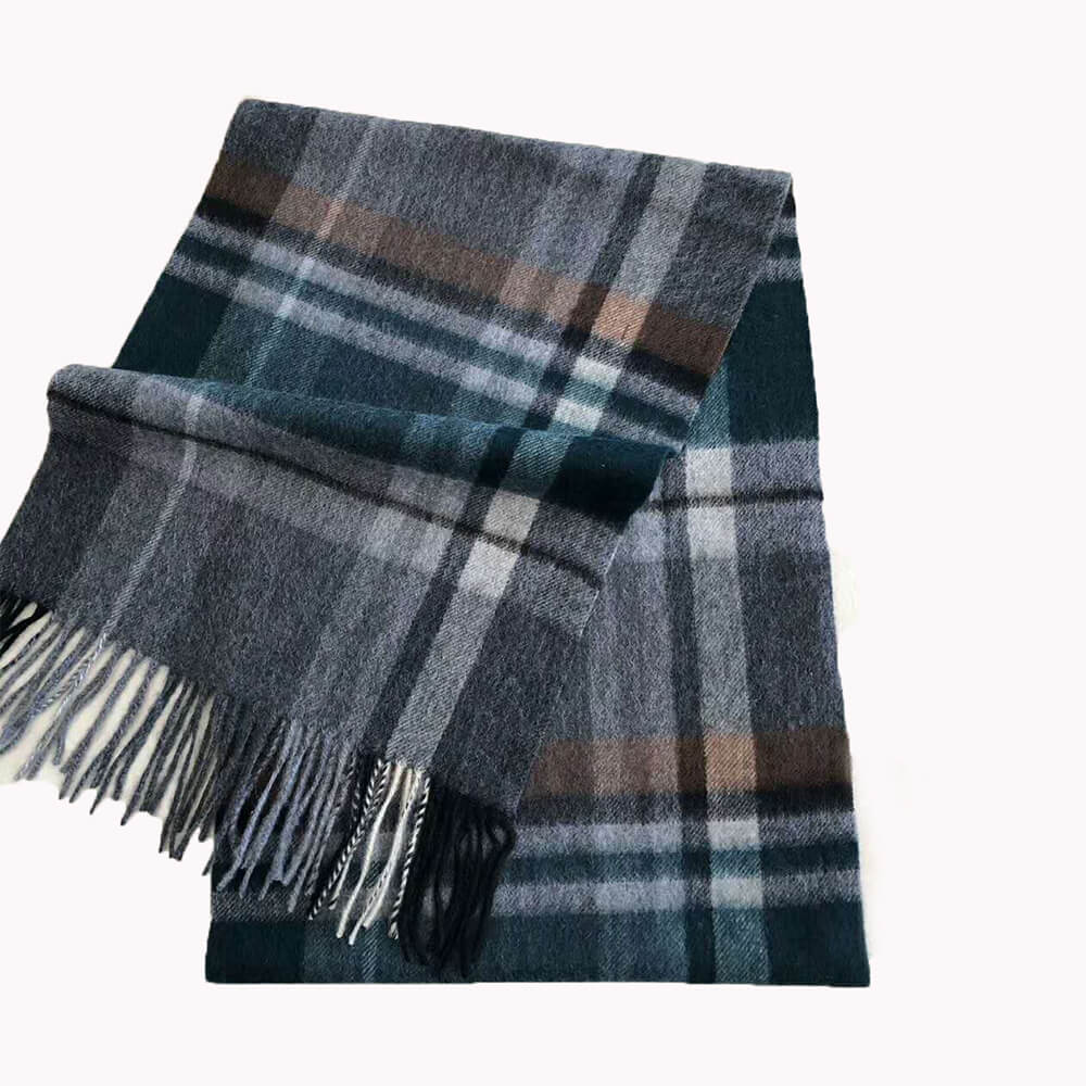 plaid scarf men light blue