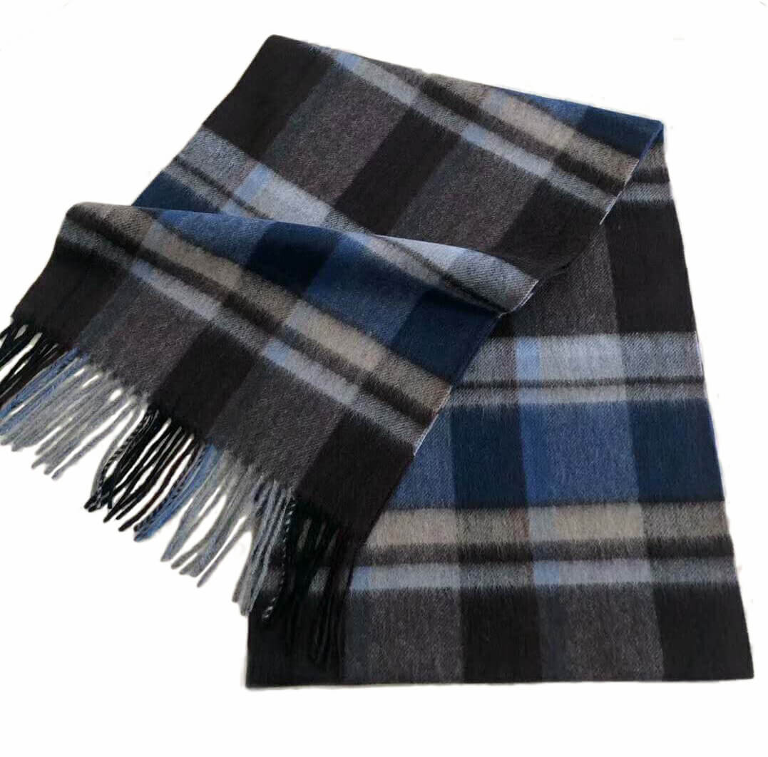 mens cashmere scarf brown and blue