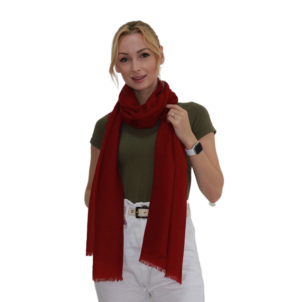 red lightweight cashmere scarf