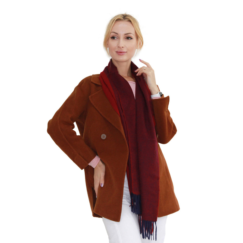 a womam in wine red cashmere scarf