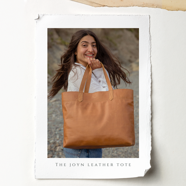 fair trade leather tote from JOYN