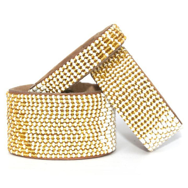Ombre Gold Beaded Leather Cuff - Redemption Market
