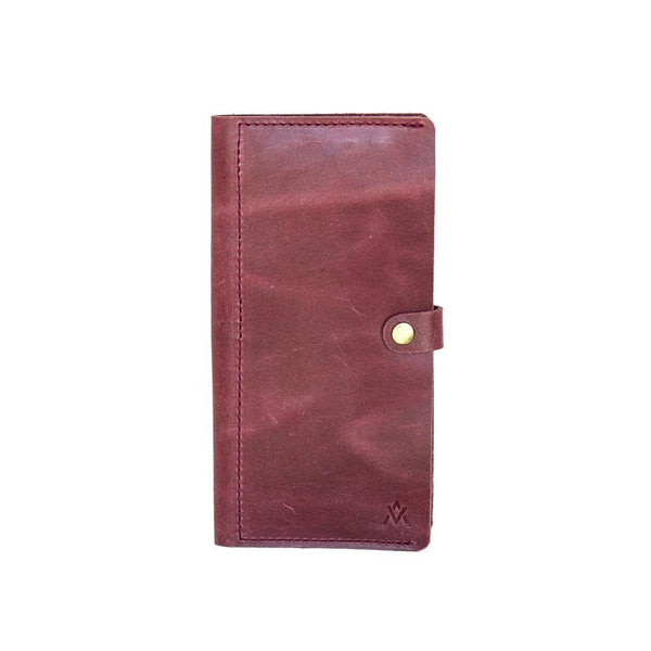 Wine colored leather phone wallet