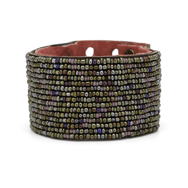 Sonoran Rainbow Beaded Leather Cuff - Redemption Market