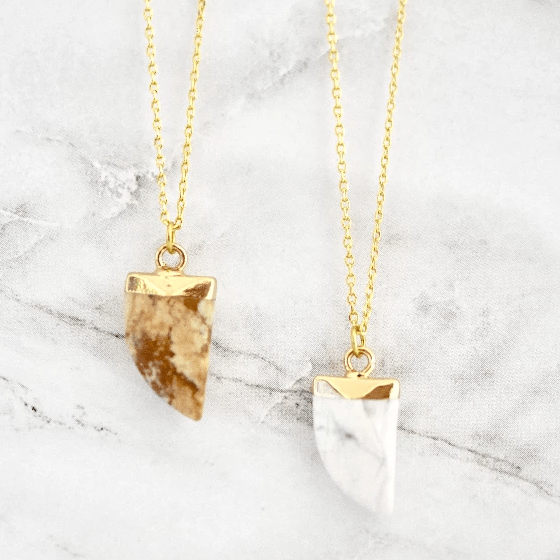 Brass + Horn Pendant Necklace- sale!