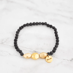 Lava and Gold Beaded Bracelet