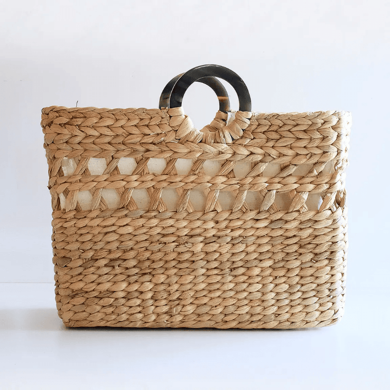 Buffalo Horn Water Hyacinth Tote Bag