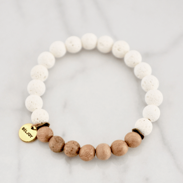 Natural Wood + Lava Bracelet- white