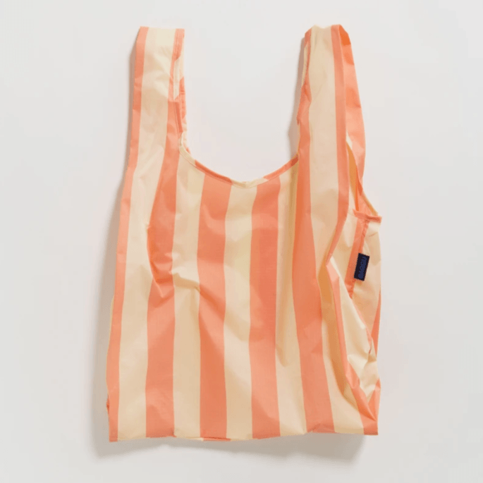 Reusable Baggu Shopping Bag- Washed Brick Stripe